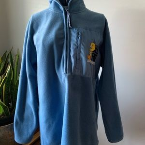 Vintage Looney Tunes Tweety Bird Half Zip Fleece